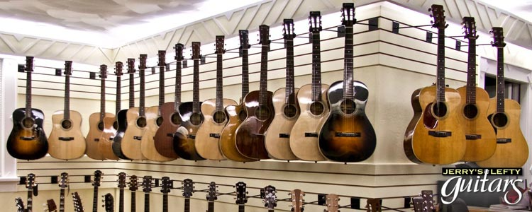 Acoustic left handed guitars for sale from various guitar manufacturers